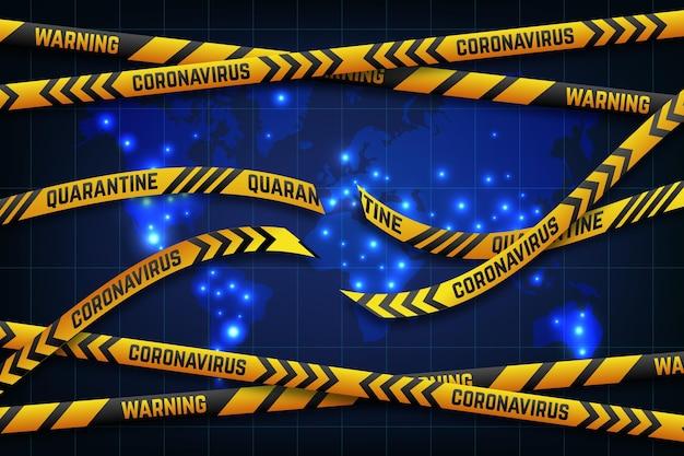 Einde van coronavirus quarantaineband wereldwijde kaart Gratis Vector