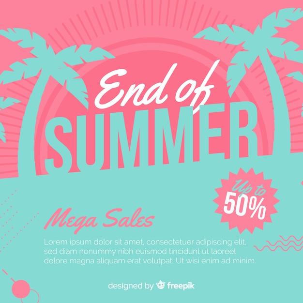 Einde van de zomer verkoop achtergrond Gratis Vector
