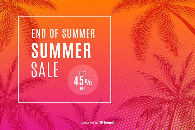 Einde van de zomer verkoop achtergrond Premium Vector
