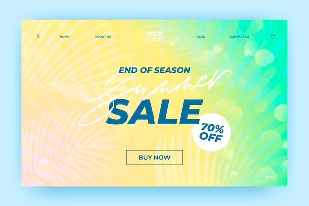 Einde van de zomer verkoop bestemmingspagina Gratis Vector