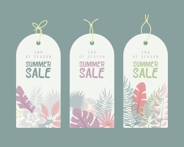 Einde van het seizoen. zomer handgetekende calligraphyc verkoop tags set. mooie zomerposters met palmbladeren, texturen en handgeschreven tekst. fashion tags. Premium Vector