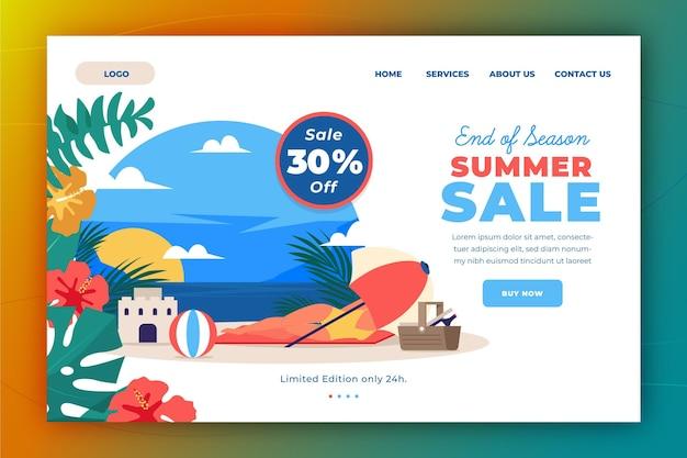 Einde van het seizoen zomer verkoop bestemmingspagina sjabloon Gratis Vector