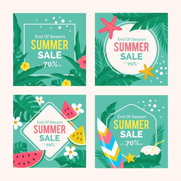 Einde van het seizoen zomer verkoop instagram post collectie Gratis Vector