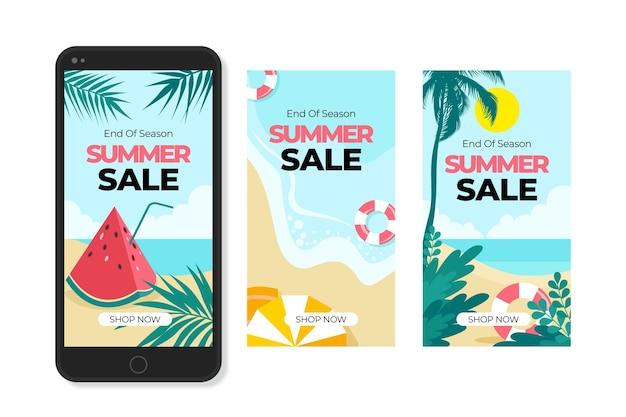 Einde van het seizoen zomer verkoop instagram verhalen collectie Gratis Vector