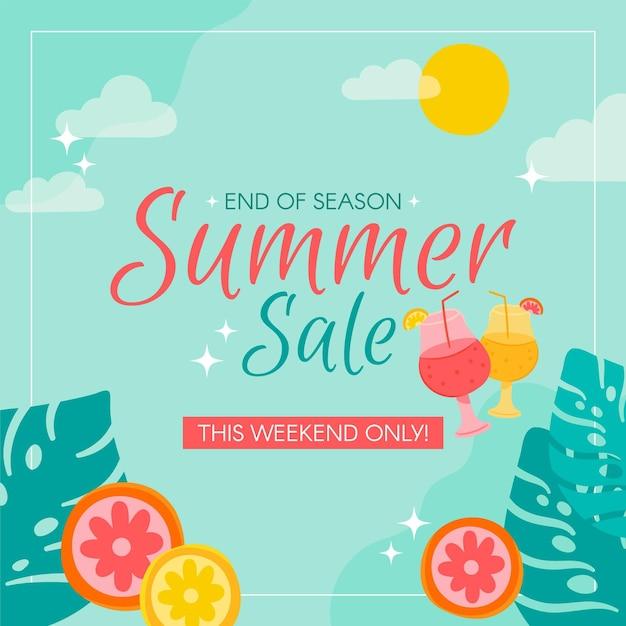Einde van het seizoen zomer verkoop met plakjes fruit Gratis Vector