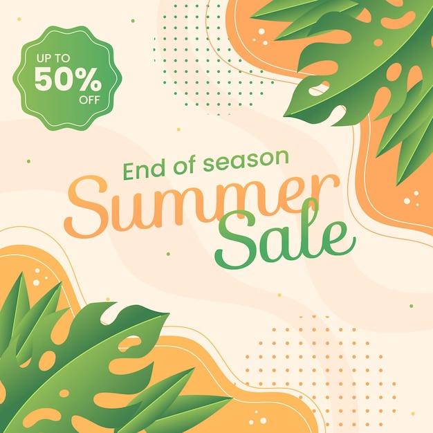 Einde van seizoen zomer verkoop illustratie Gratis Vector