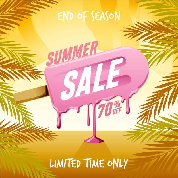 Einde van seizoen zomerverkoop vierkante banner met ijslolly Gratis Vector