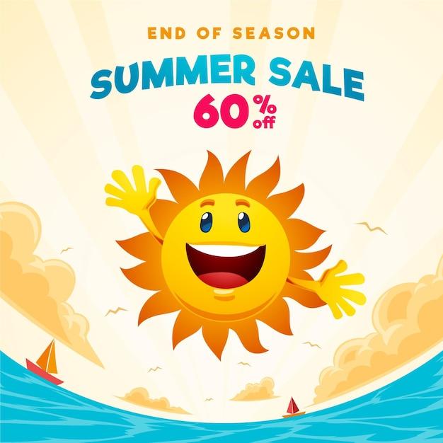 Einde van seizoen zomerverkoop vierkante banner met zon en strand Gratis Vector