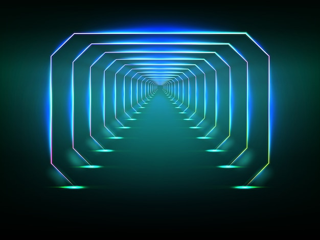 Eindeloze futuristische tunnel Premium Vector