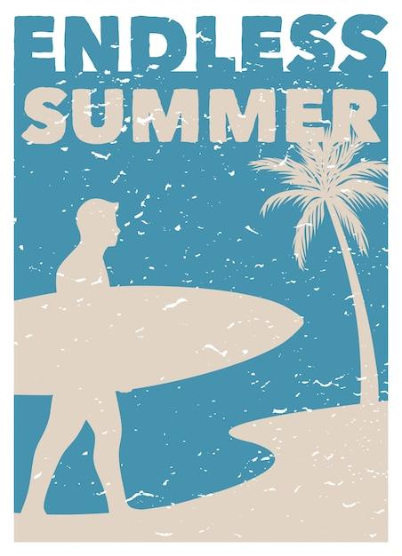 Eindeloze zomer surfen vintage retro poster Premium Vector