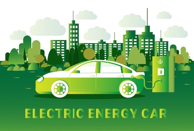 Electric energy car concept hybrid vechicle opladen op station over silhouet groene uitzicht op de stad Premium Vector