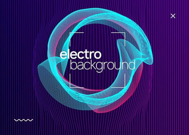 Electro evenement. futuristische lay-out van de concertuitnodiging. dynamische vloeiende vorm en lijn. electro evenement neon flyer. trance dansmuziek. elektronisch geluid Premium Vector