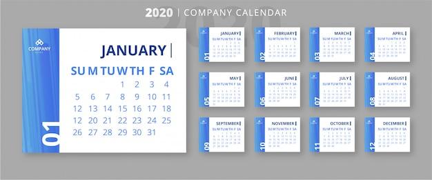 Elegant 2020 bedrijf kalendersjabloon Gratis Vector