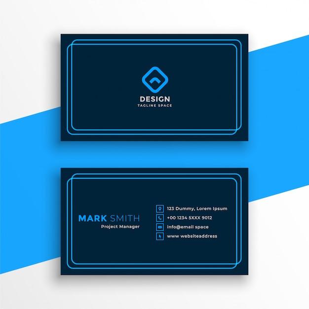 Elegant blauw visitekaartje in lijnstijlsjabloon Gratis Vector