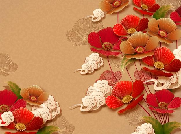 Elegant bloemenontwerp op gouden kleurenachtergrond Premium Vector