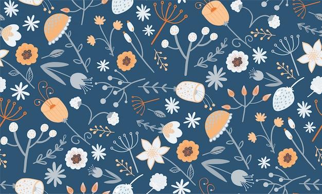 Elegant bloemenpatroon met een kleine bloem Premium Vector