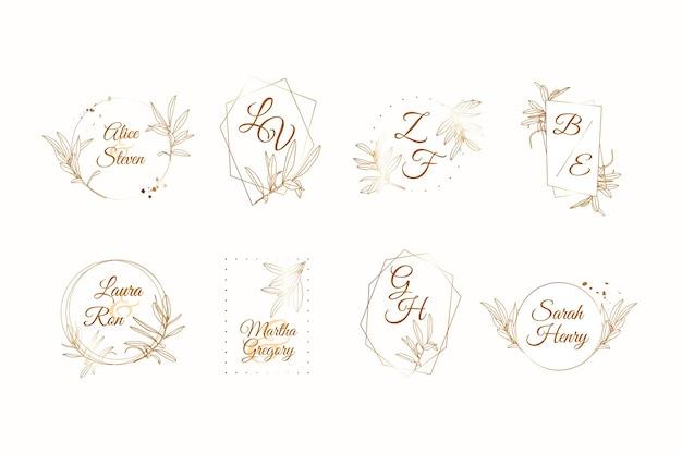 Elegant bruiloft monogram collectie thema Gratis Vector