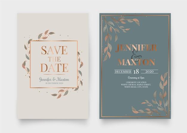 Elegant bruiloft uitnodiging ontwerp Gratis Vector