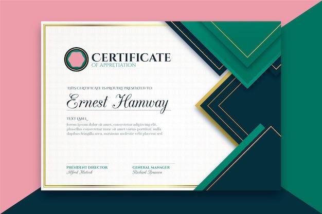 Elegant certificaat concept sjabloon Gratis Vector