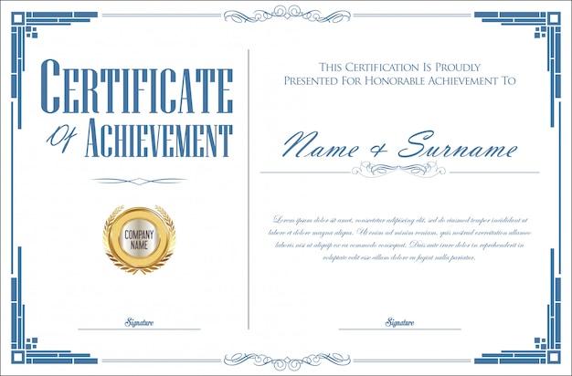 Elegant certificaat of diploma retro vintage ontwerp Premium Vector