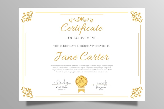 Elegant certificaat van prestatie Gratis Vector