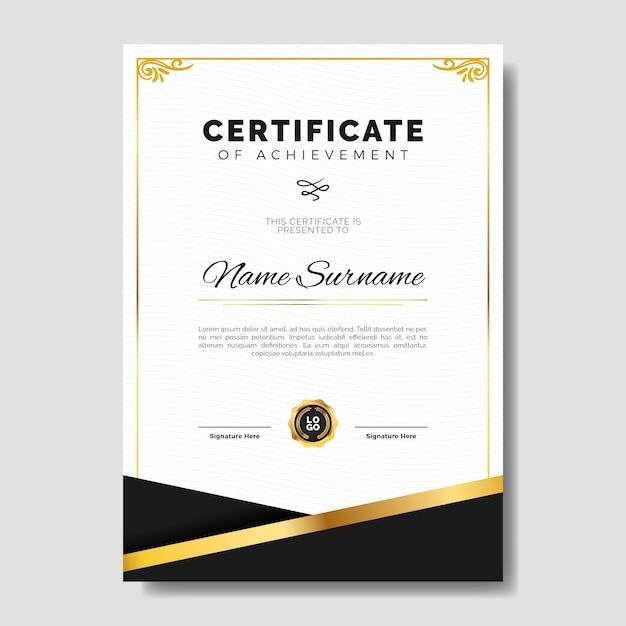 Elegant certificaatsjabloon met gouden subtiel kader Gratis Vector