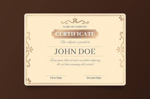 Elegant certificaatsjabloon sjabloonthema Gratis Vector