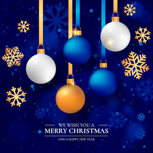 Elegant christmas achtergrond met realistische kerstballen Gratis Vector