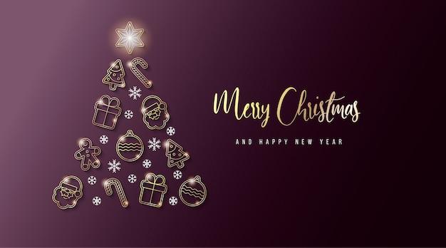 Elegant christmas banner met gouden elementen Gratis Vector