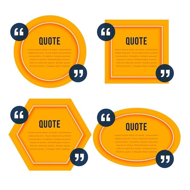 Elegant citaat gele dozen sjabloonontwerp Gratis Vector