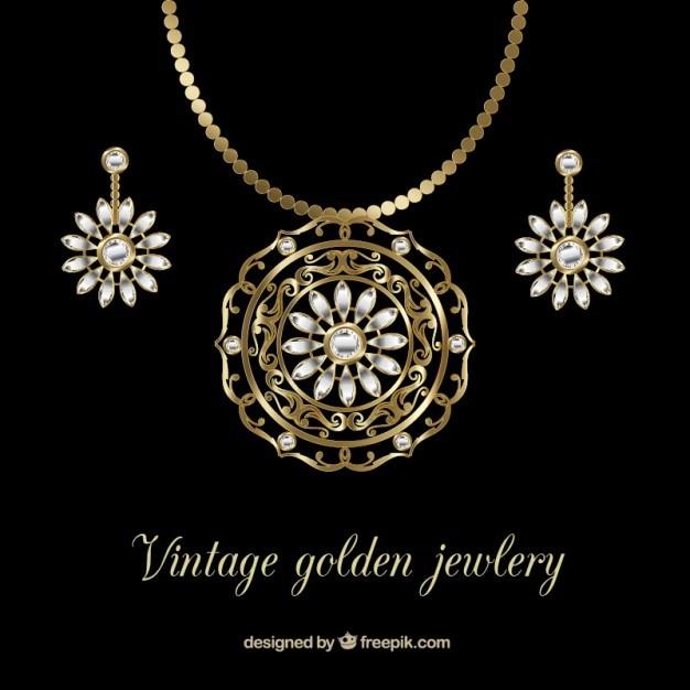 Elegant en gouden ketting met oorbellen Gratis Vector