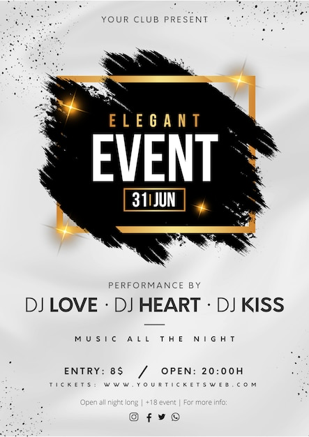 Elegant Evenement Poster Met Zwarte Splash Gratis Vector