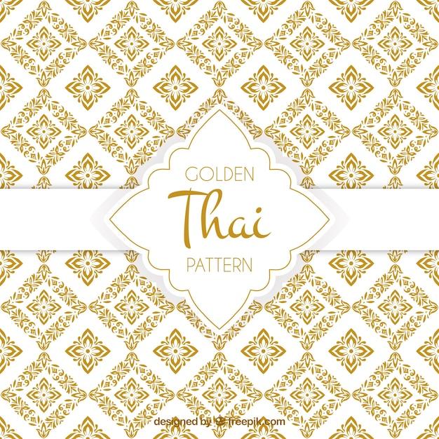Elegant gouden thais patroon Gratis Vector