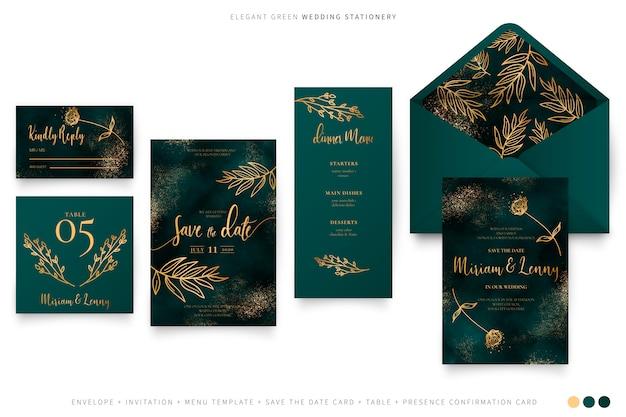 Elegant groen huwelijk ingesteld met gouden bladeren Gratis Vector