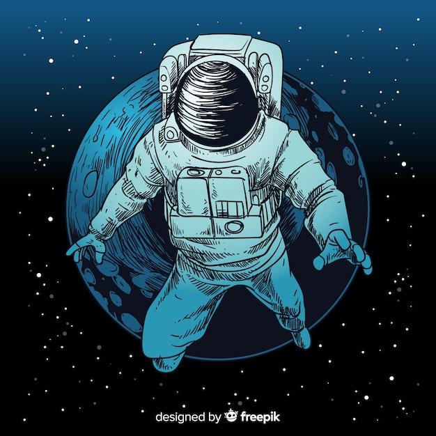 Elegant hand getrokken astronautenkarakter Gratis Vector