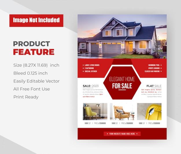 Elegant huis voor verkoop onroerend goed flyer sjabloon. Gratis Vector