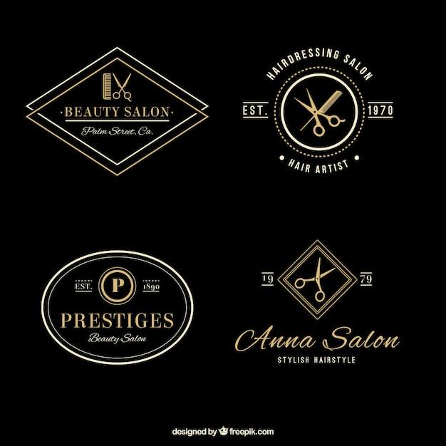 Elegant kapsalon logos Gratis Vector