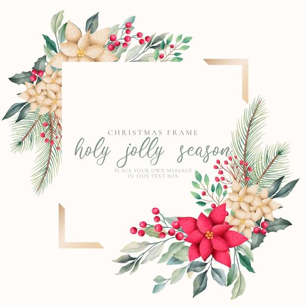 Elegant kerstsjabloon frame met aquarel aard Gratis Vector
