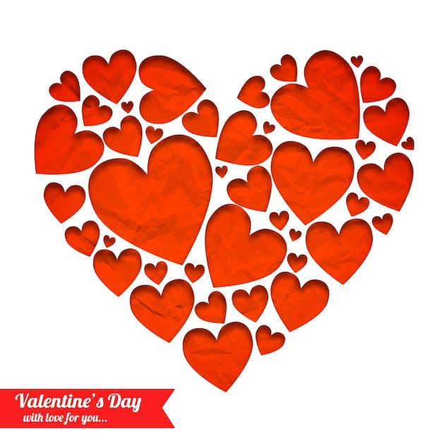 Elegant licht romantisch met rode harten van verfrommeld papier geïsoleerde vectorillustratie Gratis Vector