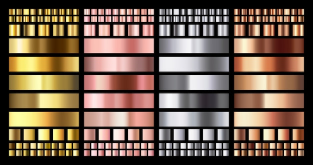 Elegant metallic verloop. glanzende rose gouden, zilveren en bronzen medailles gradiënten. gouden, roze koper en chroom metalen collectie Premium Vector