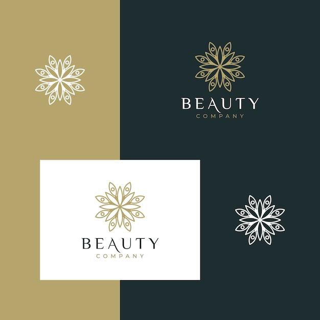 Elegant minimalistisch schoonheidsbloemontwerp met eenvoudige omtrekstijl Premium Vector