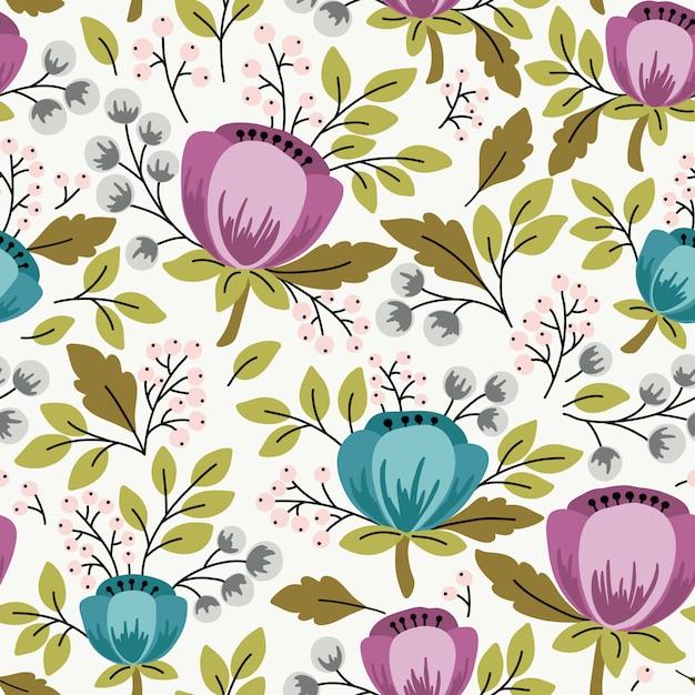 Elegant naadloos patroon met bloemen, vectorillustratie Premium Vector