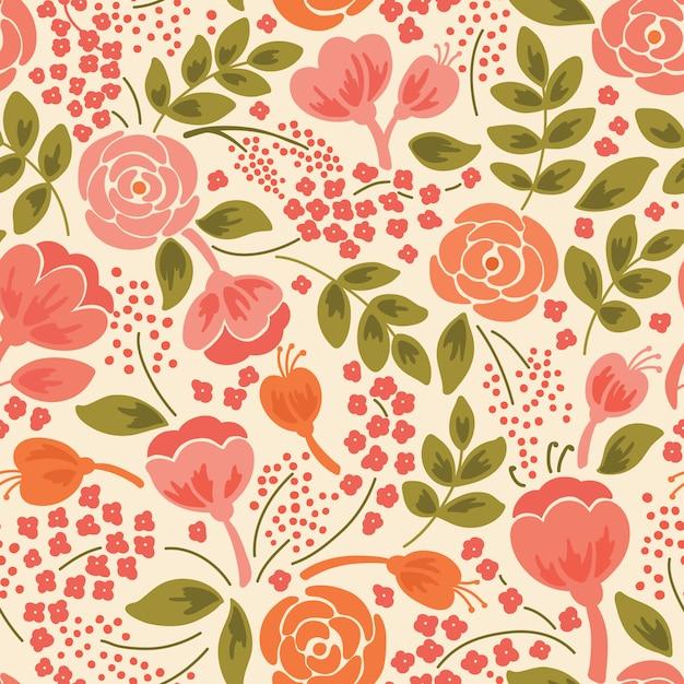 Elegant naadloos patroon met bloemen Premium Vector