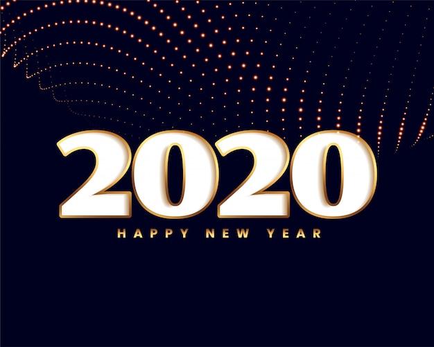 Elegant nieuw jaar 2020 met gouden deeltjesgolf Gratis Vector