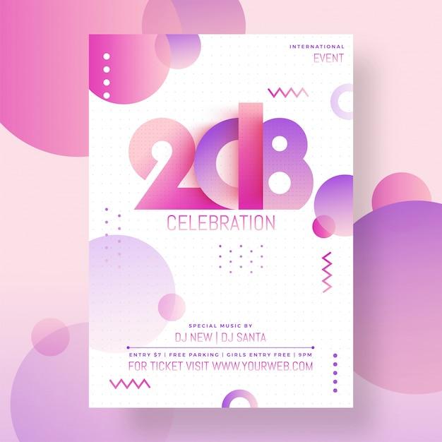 Elegant nieuwjaar 2018 partij poster, banner of flyer design. Premium Vector