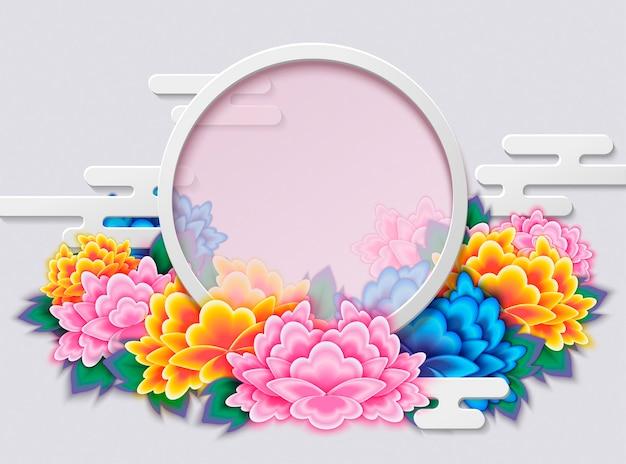 Elegant peony deco frame met ronde kopie ruimte Premium Vector