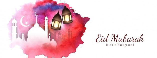 Elegant religieus eid mubarak ontwerp Gratis Vector