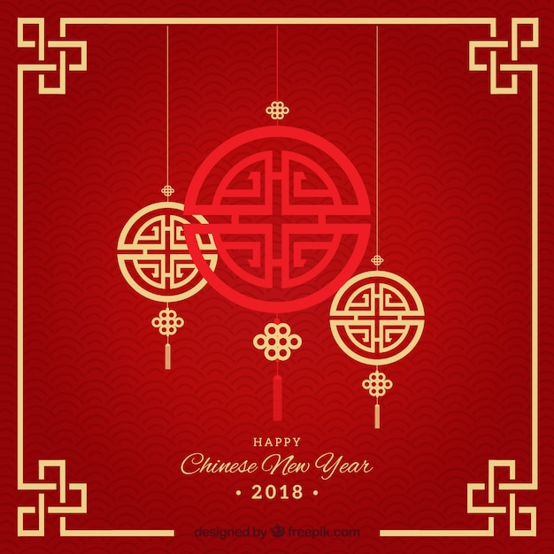 Elegant rood chinees nieuw jaarontwerp Gratis Vector