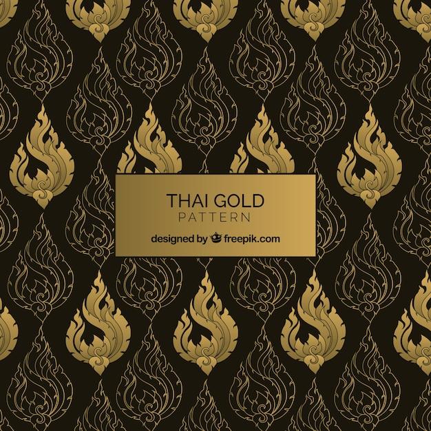 Elegant thais patroon met gouden stijl Gratis Vector