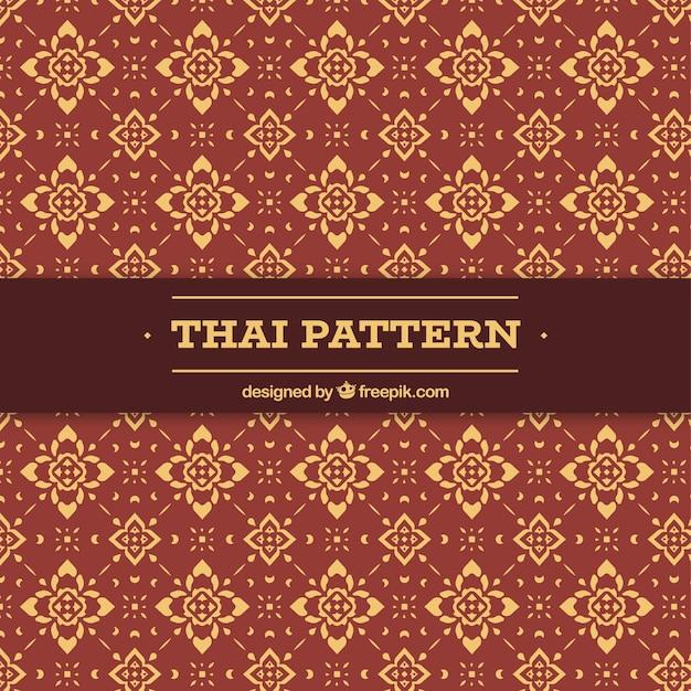 Elegant thais patroon met vlak ontwerp Gratis Vector